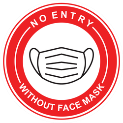No Entry Without a Mask Sticker