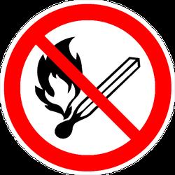 No Matches Fire Sign Sticker