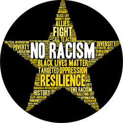 No Racism Word Cloud On Yellow Star