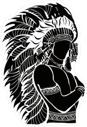North American Indian Chief Illustration Sticker