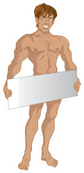 Nude Man Holding Sign Sticker