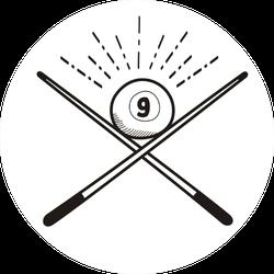 Number 9 Billiard Ball Doodle Sticker