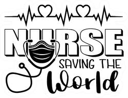 Nurse Saving The World Mask Lettering Sticker