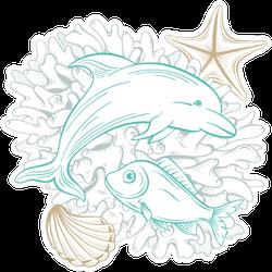 Ocean And Sea Line Art Dolphin Sticker