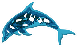 Ocean Pollution, Dolphin Illustration Sticker