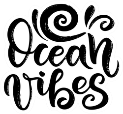 Ocean Vibes Surf Lettering Stickers