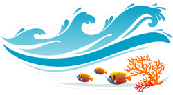 Ocean Waves and Fish Sticker