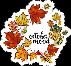 October Mood Wreath Of Autumn Leaves Sticker