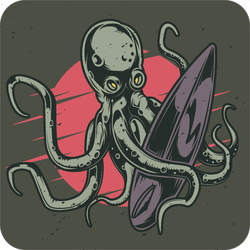 Octopus With Surfboard Sticker