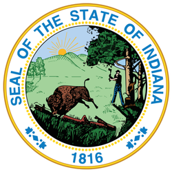 Official Current Great Seal Of Indiana, Usa Sticker