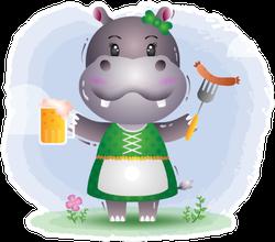 Oktoberfest Hippo In A Traditional Costume Sticker