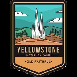 Old Faithful Yellowstone National Park Badge Sticker