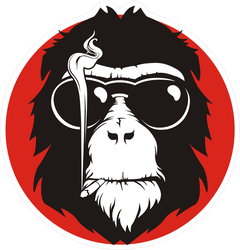 Old Hairy Smoking Monkey Sticker