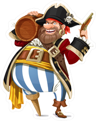 Old Pirate With A Wooden Leg Sticker