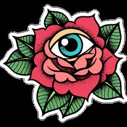 Old School Rose Tattoo With Eye Sticker