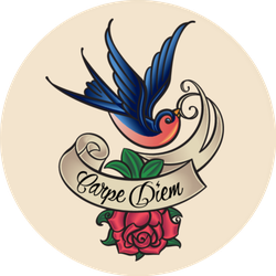 Old-school Swallow Carpe Diem Tattoo Sticker