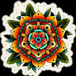 Old School Vibrant Tattoo Flower Sticker