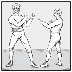 Old Timey Boxers Line Art Sticker