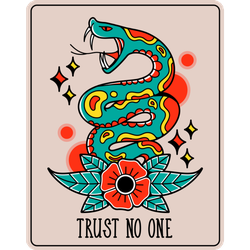 Old Traditional Trust No One Snake Tattoo Sticker