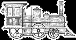 Old Train Sketch Sticker