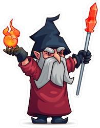 Old Wizard Cartoon Character Sticker