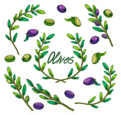 Olives And Branches Lettering Sticker