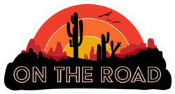 On The Road Cactus Sticker