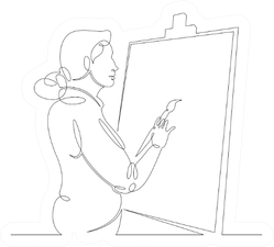 One Continuous Drawing Line Artist Paints With A Brush Sticker