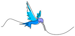 One Continuous Line Drawing Of Blue Hummingbird Sticker