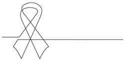 One Line Breast Cancer Ribbon Sticker