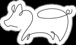One Line Design Silhouette Of Pig Sticker