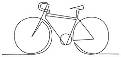 One Line Drawing Classic Bicycle Sticker