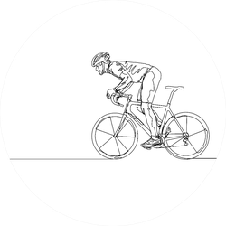 One Line Drawing Of A Bicycle Athlete Illustration Sticker