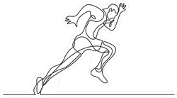 One Line Drawing Of Athlete Running Fast Sticker