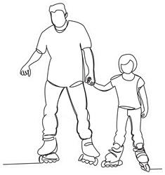 One Line Of Daddy With A Daughter On Rollers Sticker