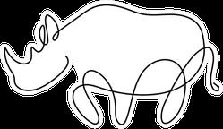 One Line Silhouette Design Of Rhino Sticker