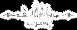 One Line Style New York City Skyline Sticker