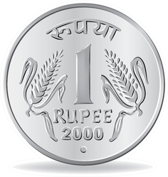 One Rupee Coin Silver Sticker