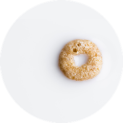One Single Ring Cereal Isolated On White Sticker