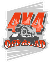 Orange 4x4 Off Road Logo Sticker