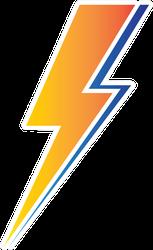 Orange and Blue Lightning Sticker