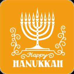 Orange Happy Hanukkah Sticker