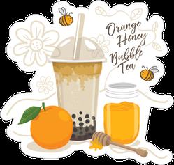 Orange Honey Bubble Tea Sticker