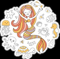 Orange Mermaid and Sea Creatures Sticker
