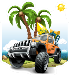 Orange Off Road Vehicle a Beach Sticker