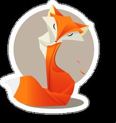 Orange Origami Style Fox Sticker