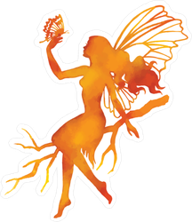 Orange Watercolor Fairy Sticker