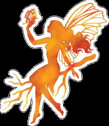 Orange Watercolor Fairy Sticker