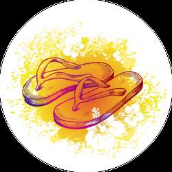 Orange & Yellow Watercolor Hibiscus Flower Sticker