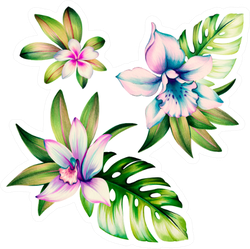 Orchid Flowers And Leaves Watercolor Illustration